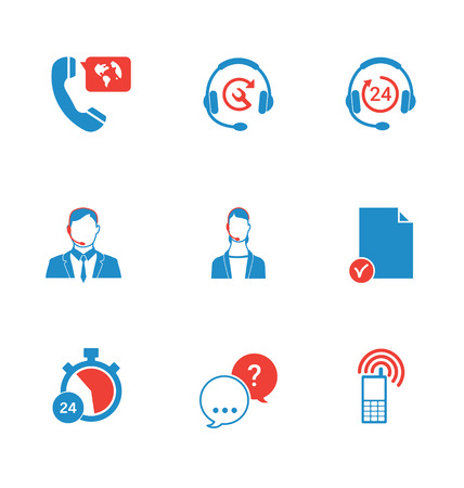contact center: Set of call center and support service icons: hotline, contact center, contacts mobile phone and communication isolated vector illustration.