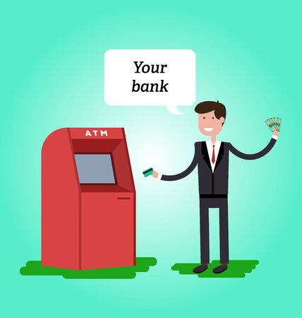 remittance: Man dressed in suit gets cash from ATM and he is happy. Vector illustration in flat style. Illustration