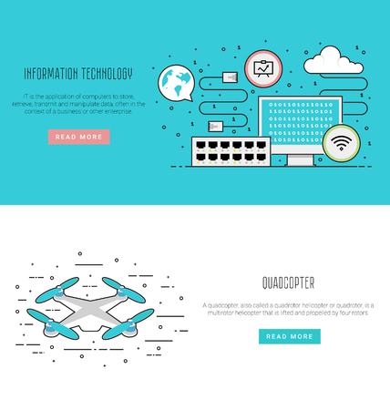 network switch: Air drone infographic in flat line style. Network equipment: computer, patch cord, switch, network switch. Vector illustration