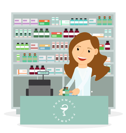 Modern flat vector illustration of a female pharmacist showing medicine description at the counter in a pharmacy opposite the shelves with medicines. Health care. Vector illustration