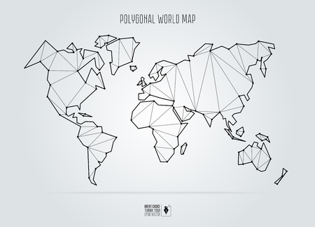 Polygonal abstract world map. Vector illustration.