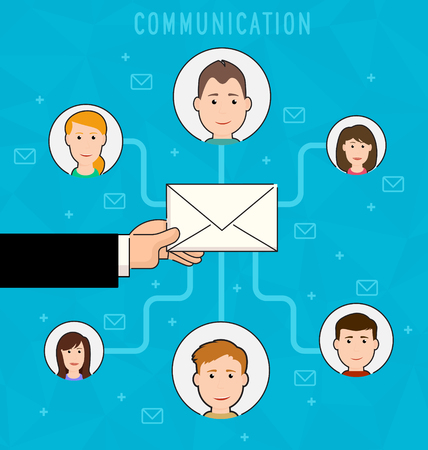 distributing: Communication process flat web infographic of running email campaign. Human hand holding an envelope spreading information thought email distributing channel to customers. Vector