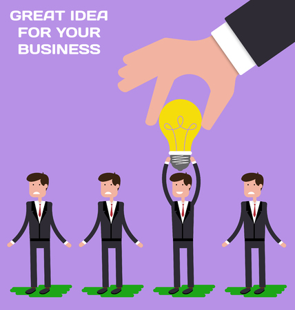 choosing: Hand choosing worker who has idea from group of businessmen. Recruitment concept. Hand holding light bulb. Vector illustration in flat style