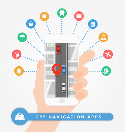 cars on road: GPS navigation apps on mobile phone. Road navigation concept with city map, pin and road with cars. Flat vector illustration. Set of logistic and shipping icons