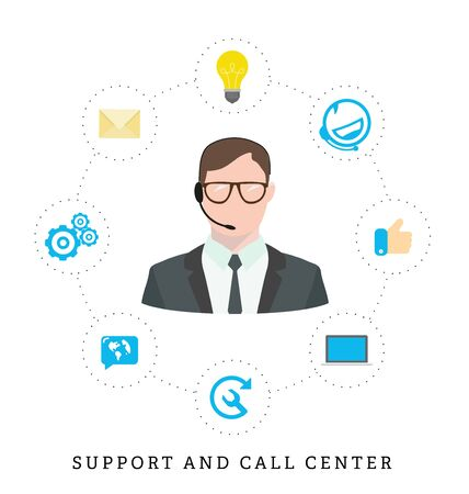 Icons for call center or hotline, call center male operator, support symbol in flat style.
