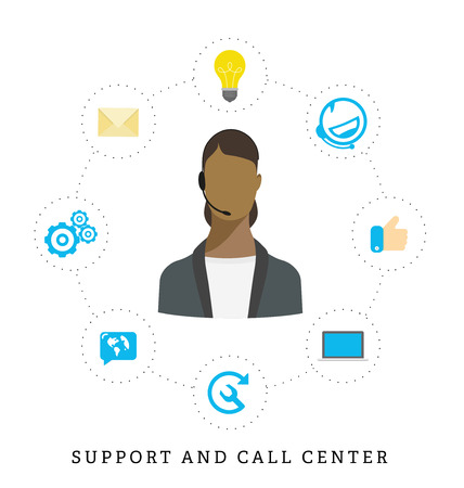 call center female: Icons for call center or hotline, call center female operator, support symbol in flat style.