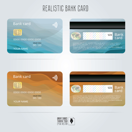Credit card. Two sides. Colored wave backgrounds. Template vector illustration. Realistic detailed bank card with abstract blue and orange design