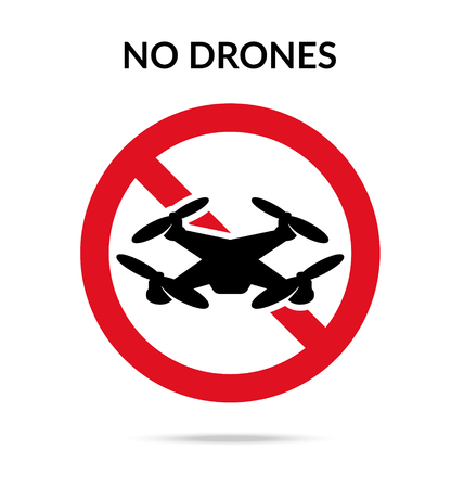 No drones sign. Drone flights limitations in public places, parks and areas. Vector illustration symbol
