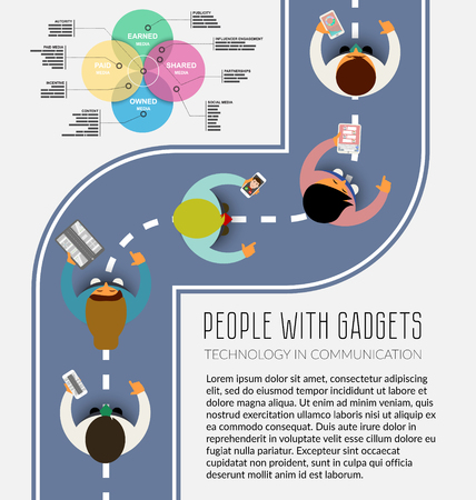 view from above: People using technology gadget, phone, smartphone, tablet in communication concept. Flat design. Mobile navigation, call, messenger, infographic. Digital channels, color diagram. View from above.