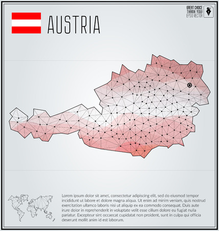 austria map: Austria map in geometric polygonal style. Polygonal abstract world map. Vector illustration. Austria flag. Vienna pointer. Illustration