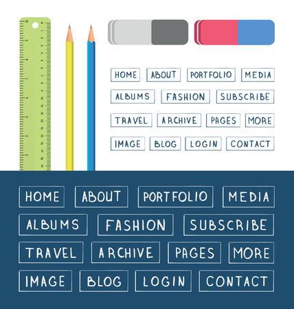 hand drawn buttons template for design websites apps and interface