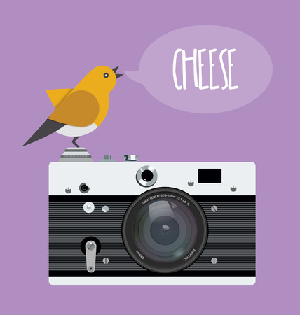 old photo: Old photo camera with realistic lens and cartoon bird, text bubble cheese.