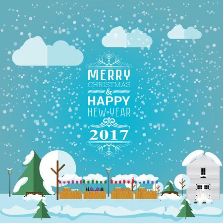 christmas market: invitation card Merry Christmas and happy new year 2017 on Christmas market, fair.