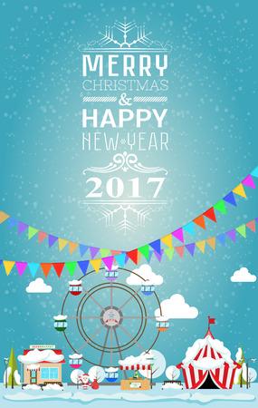 Tarjeta de invitación Feliz Navidad y feliz año nuevo de 2017, por justa. ilustración vectorial de estilo plano. puesto en el mercado, circo, supermercado, noria, árboles de navidad están cubiertas de nieve Foto de archivo - 63672597