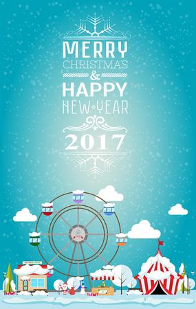 Tarjeta de invitación Feliz Navidad y feliz año nuevo de 2017, por justa. ilustración vectorial de estilo plano. puesto en el mercado, circo, supermercado, noria, árboles de navidad están cubiertas de nieve Foto de archivo - 63672598