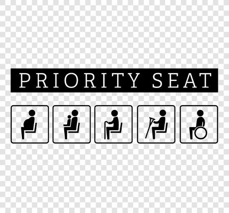 Handicapées et les personnes âgées, estropient, enceinte, maman ou mère avec coin enfant signe set. sièges prioritaires pour les clients, placer des icônes spéciales isolé sur fond. illustration de style plat