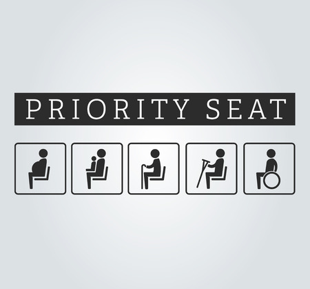 seating: Disabilities and seniors, cripple, pregnant, mom or mother with child area sign set. Priority seating for customers, special place icons on background. illustration flat style