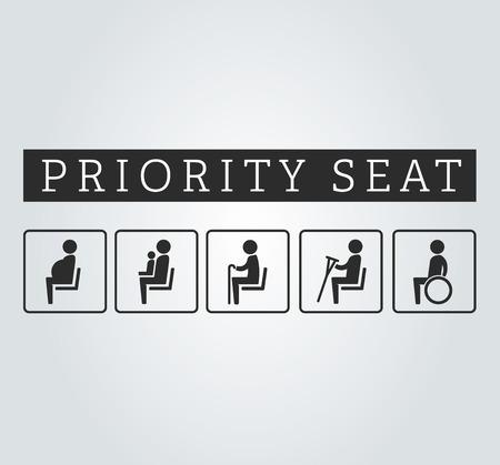 Handicapées et les personnes âgées, estropient, enceinte, maman ou mère avec coin enfant signe set. sièges prioritaires pour les clients, placer des icônes spéciales sur fond. illustration de style plat