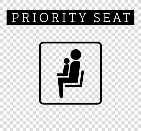 sit: Mom or mother with child sign. Priority seating for customers, special place icon isolated on background. illustration flat style. Illustration