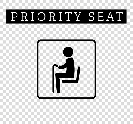 seating: Seniors or old man sign. Priority seating for customers, special place icon isolated on background. illustration flat style. Illustration