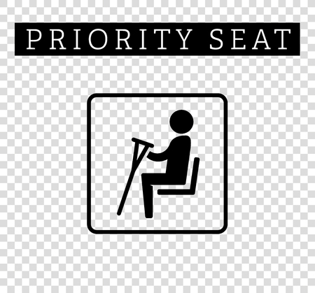 seating: Disabilities or cripple with crutches sign. Priority seating for customers, special place icon isolated on background. illustration flat style