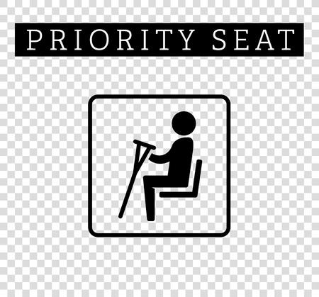 Discapacidad o paralizar con muletas señal. asientos de prioridad para los clientes, el lugar icono especial aislado en el fondo. estilo plano ilustración Ilustración de vector