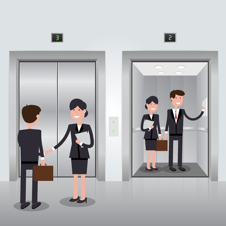 stage door: Business people in office building elevator, realistic chrome opened and closed doors. illustration