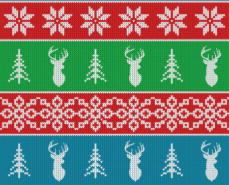 Scandinavian christmas winter seamless knitted pattern. Head deer silhouette or reindeer, snowflake and christmas tree. White pixel images with blue, green and red background. illustration Illustration