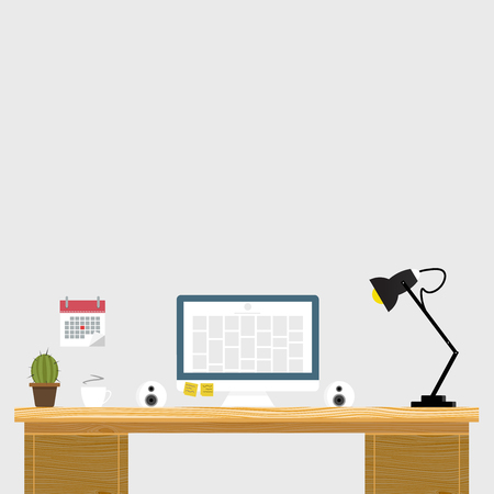 wooden work: Working place in flat design. Constructor of your own work space. Creative office modern workplace. Vector illustration. Wooden texture. Mockup for web. Illustration
