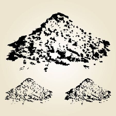 raw material: Pile of sand isolated on white. Hand drawn design element. Vector illustration