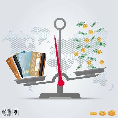 weigher: Infographic value of credit card. Compare credit cards and cash on the scales. Dotted world map background. Vector illustration, flat style.