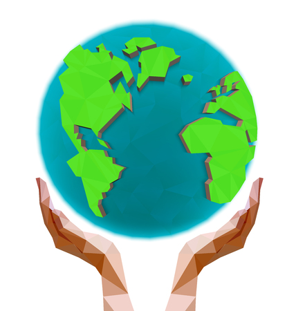 cupped: Polygonal hands holding the polygon globe. Day of the Earth. Low poly vector illustration