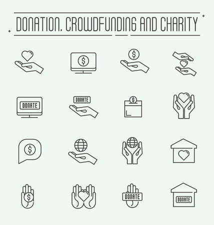 charity and relief work: Charity and donation modern vector line design icons set. Safe planet, financial, accommodation help. Set conceptual icons life insurance and property. Illustration
