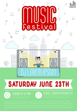 megapolis: Music festival. Dj with console in megapolis. Vector illustration in flat style. Illustration