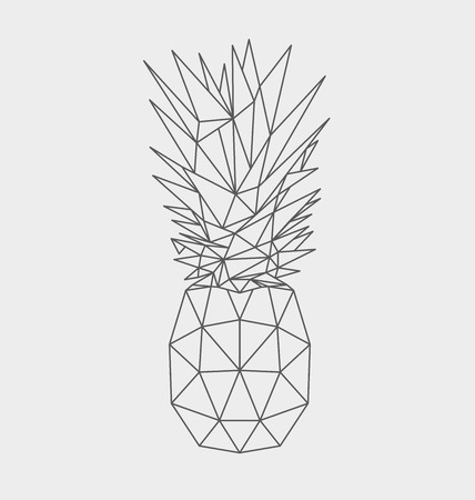 Polygonal pineapple fruit isolated on white background. Vector illustration