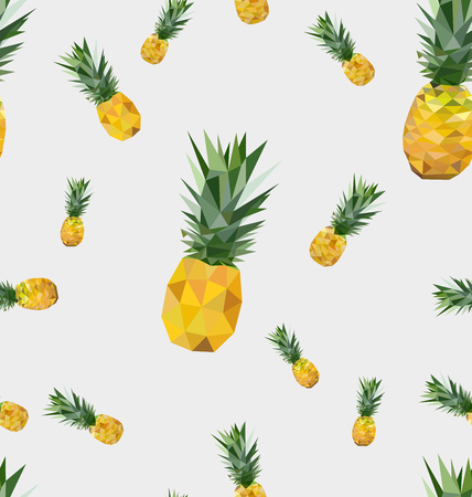 Seamless pattern with polygonal pineapple fruit. Background vector illustration