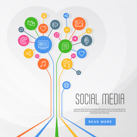 Abstract social media infographics connected circles with flat icons. Growth of network: computer, technology, speech bubble icon. Vector illustration Illustration