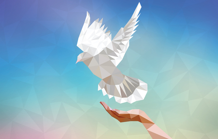 délivrance: Polygonal dove with human hand flying in blue sky. Symbol of peace. Vector illustration.