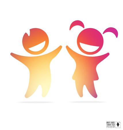 Silhouet van gelukkige kinderen: jongen en meisje met helling binnen voor onderwijs, gezondheidszorg kliniek, kleuterschool logo Stock Illustratie