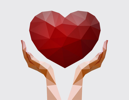 Human hands holding polygonal heart. Love, peace and donation concept. Charity event. Vector illustration for non-profit organisation