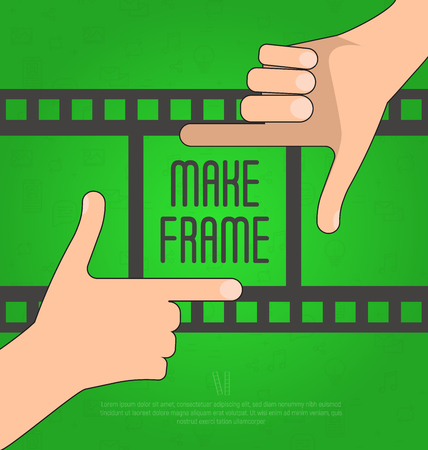 Hands make a rectangular frame with film on the background. Concept for photographer, filmmaker, ?ameraman. Flat vector illustration,