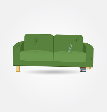 Broken old couch with holes and spring from the seat. Flat vector illustration. Stock Illustratie