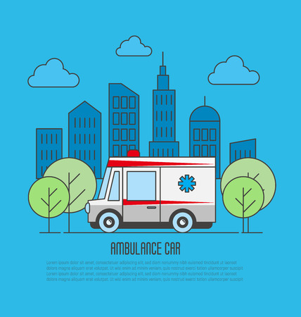 Ambulance car in thin line style. Megapolis background. Vector illustration.