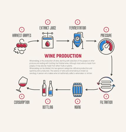 Infografía de línea delgada de la fermentación del vino, haciendo. Cómo se elabora el vino, elementos del vino, creación de un vino, conjunto de herramientas del enólogo y viñedo. Producción de bebidas alcohólicas. Ilustración vectorial Logos