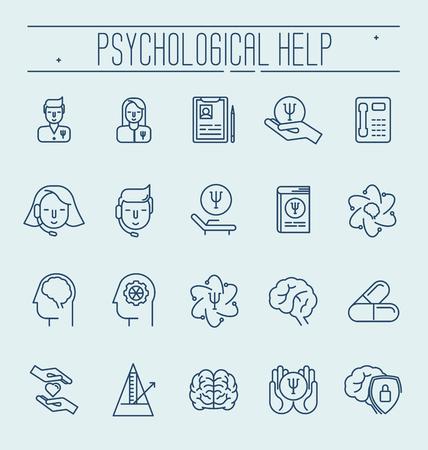 Establecer símbolos de ayuda psicológica. Ilustración de vector delgada línea. Símbolos de salud y cuidado social.