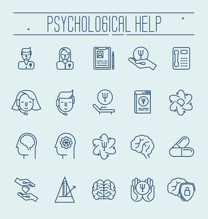 Set symbols of psychological help. Vector thin line illustration. Health care and social care symbols.