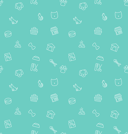 Seamless pattern and background with thin line icons related to pets and animals for pet shop websites and prints. Vector illustration. Illustration