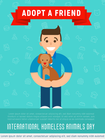 Happy man is hugging an adopted happy dog. Flat style. Vector illustration for pet adoption poster. Illustration