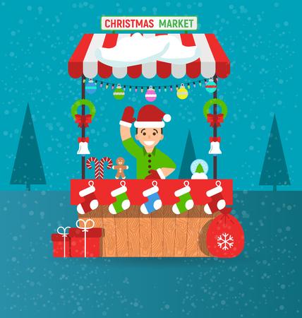 Gelukkige jonge man en Kerstmismarktkraam met herinneringen in moderne vlakke stijl. Slingers. Vector illustratie. Uitnodigingskaart Vrolijke Kerstmis en gelukkig nieuw jaar op de beurs.