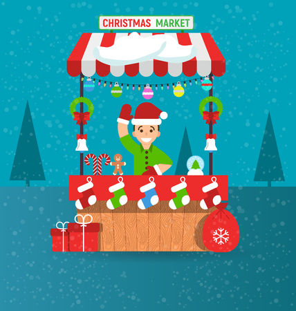 Happy young man and christmas market stall with souvenirs in modern flat style. Garlands. Vector illustration. Invitation card Merry Christmas and happy new year on fair. Ilustração